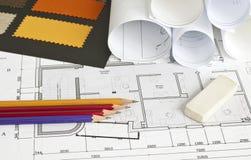 Architecturale blauwdruk van de bureaubouw Stock Afbeelding