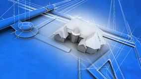 Architecturale Blauwdruk van Huis Royalty-vrije Stock Fotografie