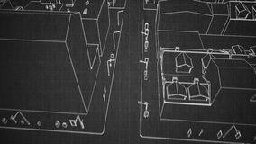 Architecturale de samenvatting van de schetsstad stock video
