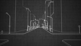 Architecturale de samenvatting van de schetsstad stock videobeelden