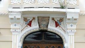 Architecturale decoratie Voorgevel van Servische Vicariate in Timisoara (4 K) - 3 stock videobeelden