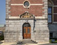 Architecturale detail zijingang Rijksmuseum, Amsterdam, Nederland stock foto's