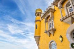 Architecturale details van het kasteel Pena portugal Stock Foto