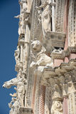 Architecturale details van kathedraal in Siena Stock Afbeeldingen