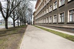 Architecturale details van oud stadscentrum in Riga, Letland Stock Foto