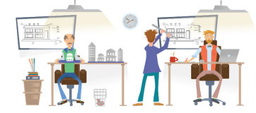 Architecturale Dienst De architecten werken met tekeningen in het bureau De architecturale modellen zijn op de Desktops Mensen in royalty-vrije illustratie