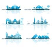 Architecturale gezichten van verschillende landen Royalty-vrije Stock Foto's