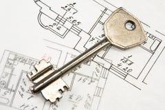 Architecturale plan en sleutel Stock Afbeelding