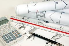 Architecturale plannen Stock Afbeelding
