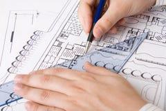 Architecturale plannen Royalty-vrije Stock Afbeelding
