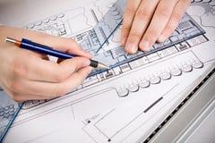 Architecturale plannen Royalty-vrije Stock Afbeeldingen