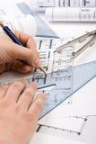 Architecturale plannen Royalty-vrije Stock Foto's