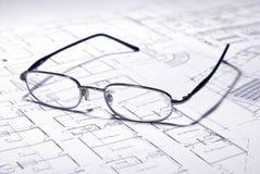 Architecturale plannen Stock Foto's