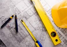 Architecturale plannen Royalty-vrije Stock Fotografie