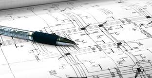 Architecturale plannen en pen Stock Afbeelding