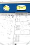 Architecturale plannen en waterspiegel royalty-vrije stock afbeelding