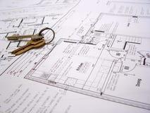 Architecturale plannen met sleutels Stock Foto