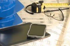 Architecturale plannen voor bouw royalty-vrije stock afbeeldingen