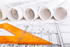 Architecturale projectblauwdruk Royalty-vrije Stock Afbeeldingen