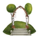 Architecturale Samenstelling De trap wordt bedekt met een baksteenboog met kolommen en bomen Ge?soleerd op wit royalty-vrije illustratie