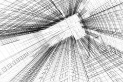 Architecturale schets van de bouw Stock Afbeelding