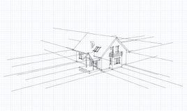 Architecturale schets van een huis Stock Fotografie
