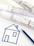 Architecturale schets van huisplan Royalty-vrije Stock Foto
