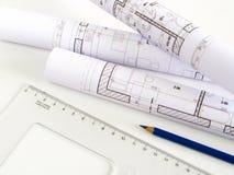 Architecturale schets van huisplan Royalty-vrije Stock Afbeeldingen
