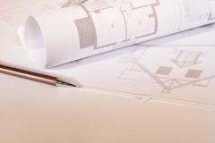 Architecturale schetsen Royalty-vrije Stock Afbeeldingen