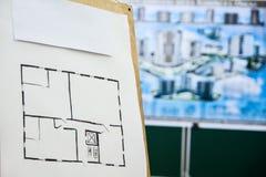 Architecturale schetstekening van de flat Stock Afbeeldingen