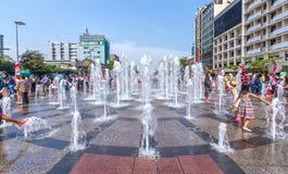 Architecturale schoonheid van het fontein Maannieuwjaar Stock Foto