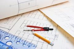 Architecturale tekening royalty-vrije stock fotografie