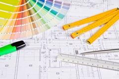 Architecturale tekening royalty-vrije stock afbeelding