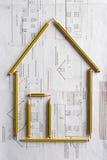 Architecturale tekening en potloden Stock Afbeelding