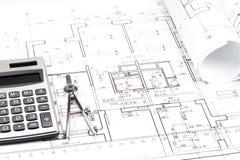 De blauwdrukdetail van de architectuur Stock Foto's