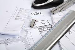 Architecturale tekeningen Royalty-vrije Stock Afbeeldingen