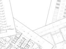 Architecturale tekeningsachtergrond Stock Afbeeldingen