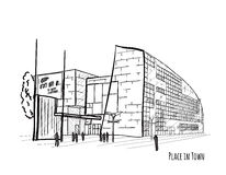 Architecturale vector zwart-witte schets Stock Foto's