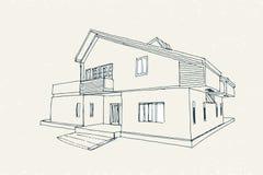 Architecturale Vectorschets Royalty-vrije Stock Fotografie