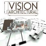 Architecturale visie met project van huis op blauwdrukken Stock Foto
