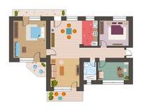 Architecturale vlakke plan hoogste mening met de keuken van de woonkamersbadkamers en de vectorillustratie van het zitkamermeubil royalty-vrije illustratie