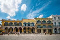 Architecturally significant buildings in Plaza Vieja Stock Images