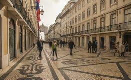 Architecture à Lisbonne, au Portugal, Europe - rues et le Rua Augusta Arch images stock