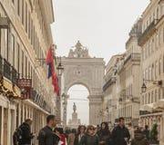 Architecture à Lisbonne, au Portugal - rues et le Rua Augusta Arch photo libre de droits