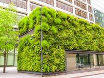 Architecture écologique, façade vivante verte du bâtiment photos stock