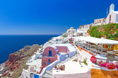 Architecture de village d'Oia sur l'île de Santorini Photo stock