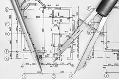 Architecture. Close up of architect with blueprints stock photo