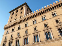 Architecture. Typical Roman building with large windows    and battlements in Rome, Italy Stock Images