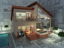 Architecture. The project of residential house. 3D image Royalty Free Stock Images
