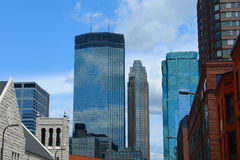 Architecture. A picture of downtown Minneapolis under blue skies royalty free stock photography